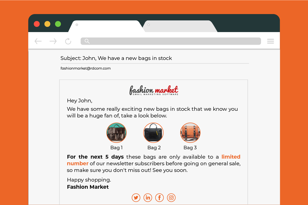 new stock email ecommerce
