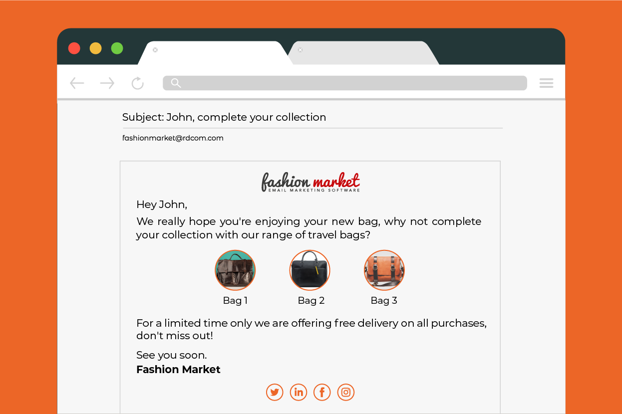 personalised upsell email for ecommerce