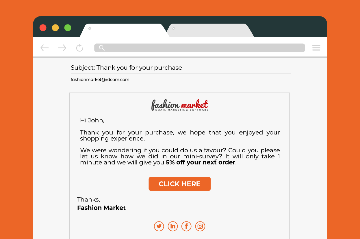 post purchase email for ecommerce