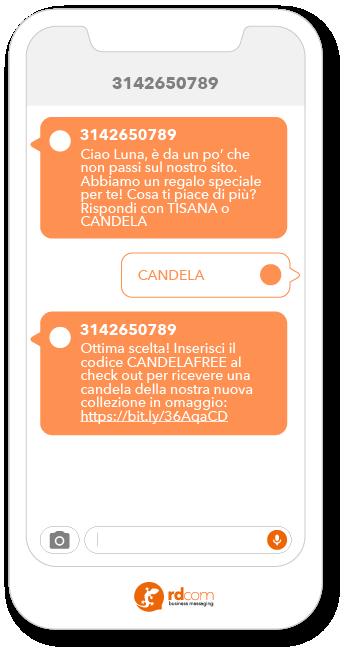 Esempio SMS attività sito web