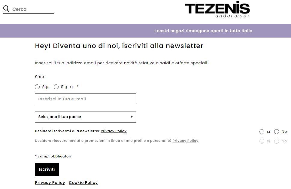 Esempio di landing page con iscrizione a newsletter