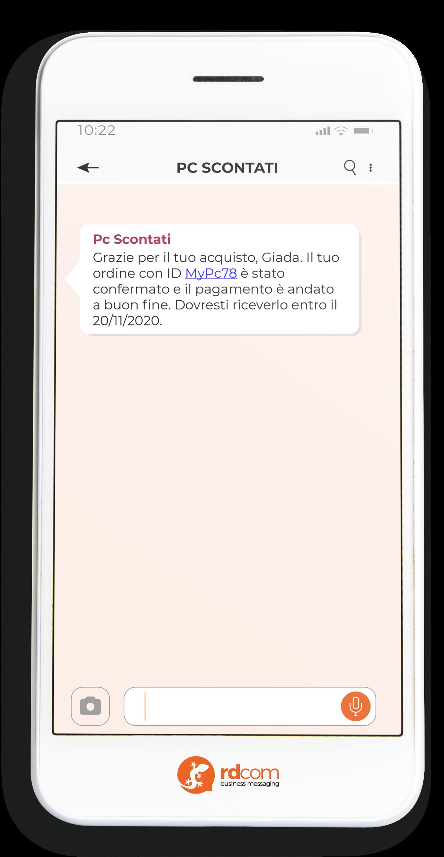 Esempio di SMS con conferma di pagamento per e-commerce