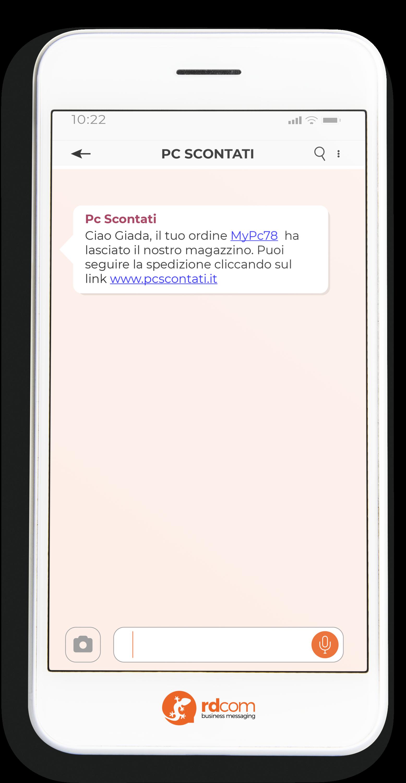 Esempio di SMS con notifiche spedizioni e-commerce