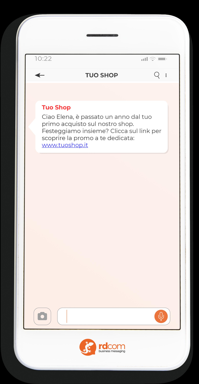 Esempio di SMS con auguri per ricorrenza e-commerce