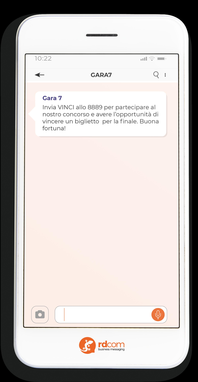 Esempio di SMS per promuovere un concorso durante un evento