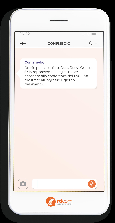 Esempio di SMS valido come biglietto evento