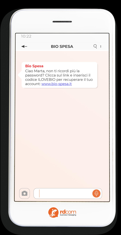 Esempio di SMS per richiesta credenziali accesso e-commerce