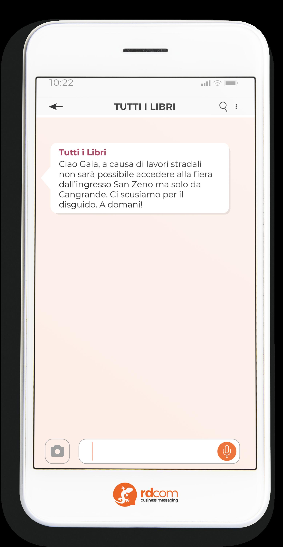 Esempio di SMS con informazioni per un evento