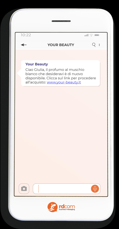 Esempio di SMS per upselling e-commerce