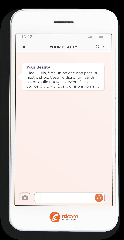 Esempio di SMS con sconto per e-commerce