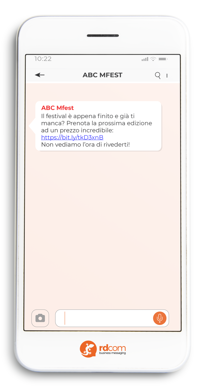Esempio di SMS con offerta per biglietti evento