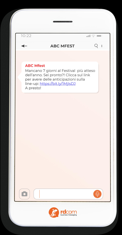 Esempio di SMS come promemoria per evento