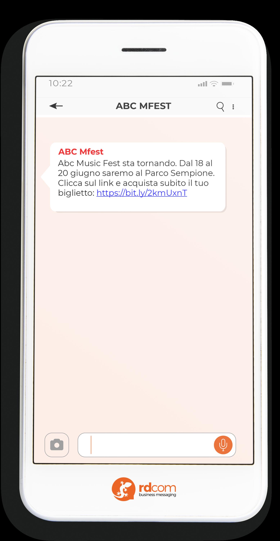 Esempio di SMS per promuovere un evento