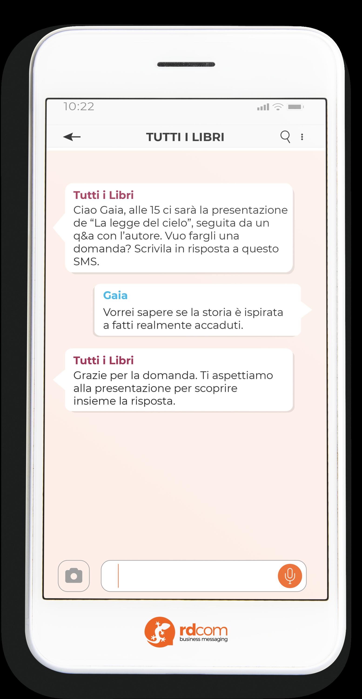 Esempio di SMS con richieste durante un evento
