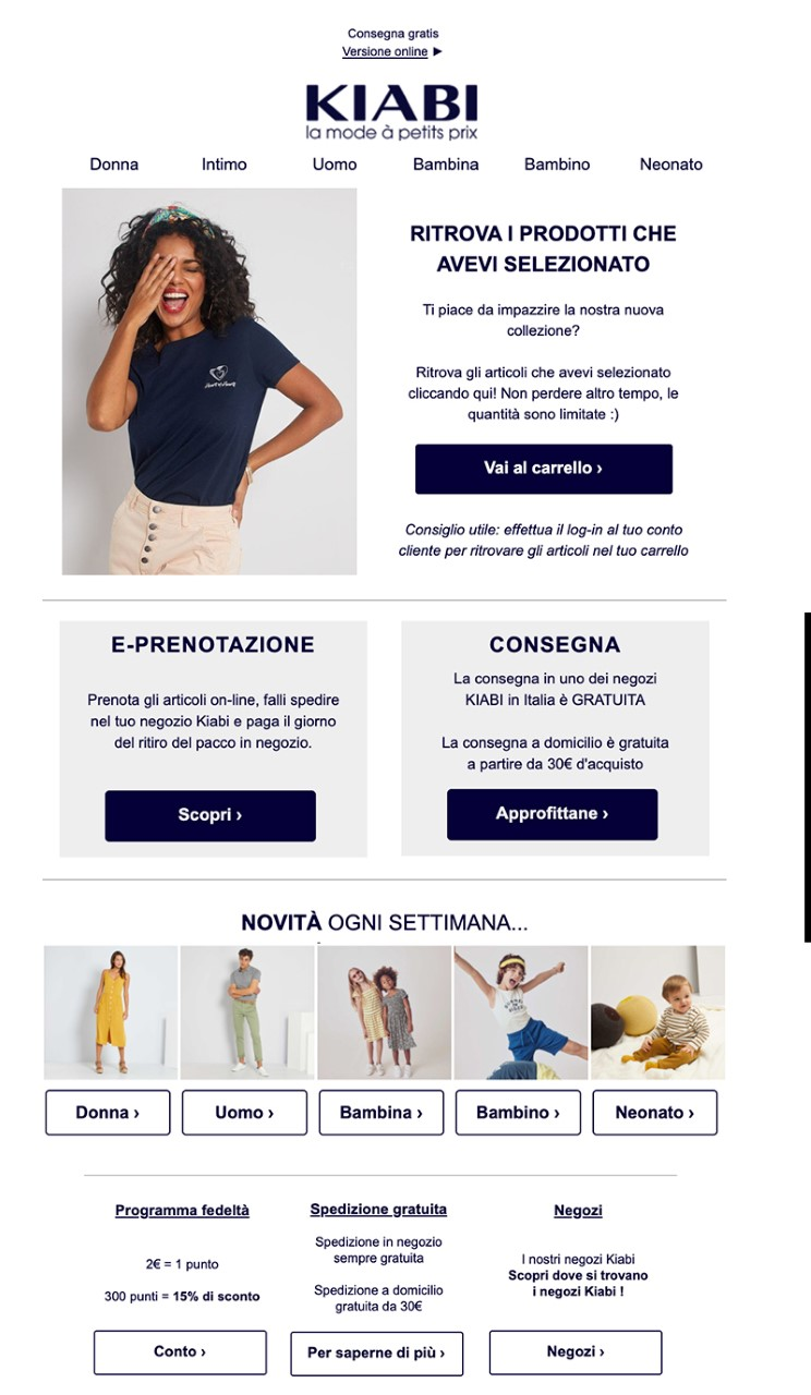 Esempio di newsletter sulle call to action