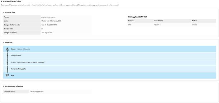 Sezione controlla e attiva email Piattaforma Multicanale rdcom