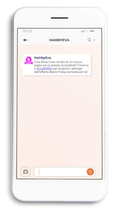 Esempio uso SMS per veicolare offerte