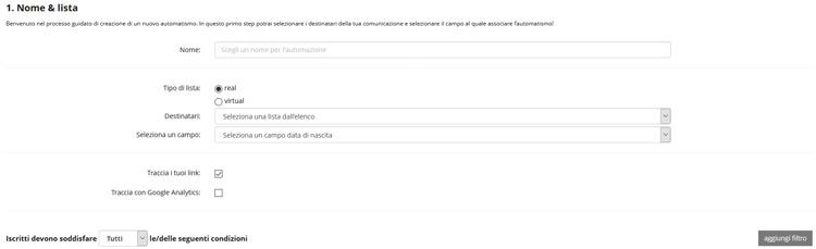 Sezione Nome e Lista Email Piattaforma Multicanale rdcom