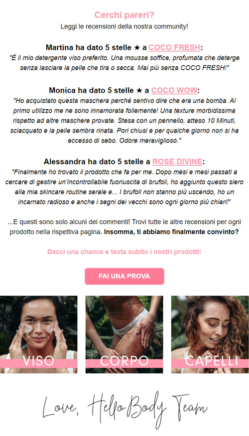 Esempio newsletter Hello Body