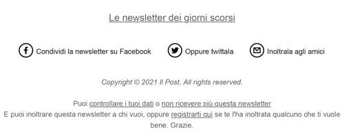 Esempio newsletter de Il Post