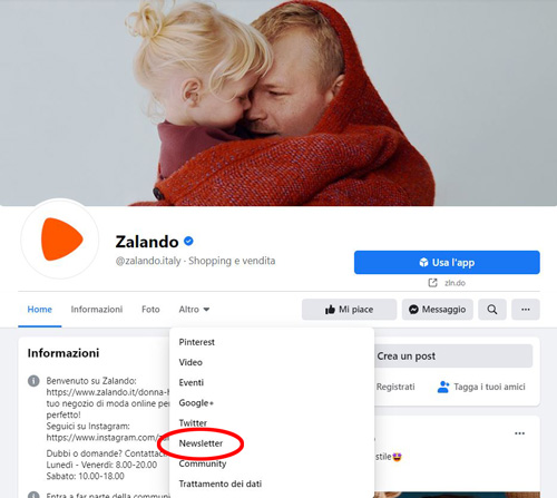 Esempio tab pagina Facebook di Zalando