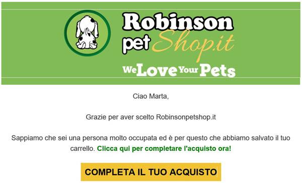 esempio email per carrelli abbandonati Robinsonpetshop.it