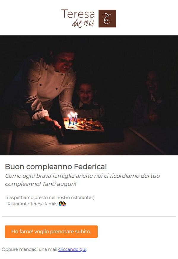 esempio email auguri compleanno Ristorante Teresa