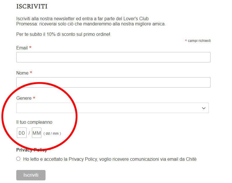 esempio form di iscrizione newsletter Chitè