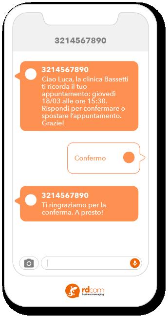 Esempio di SMS 2-way per promemoria