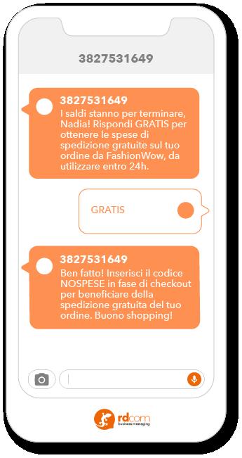 Esempio di SMS 2-way per promozioni