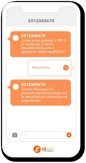 Esempio di SMS 2-way per rinnovo