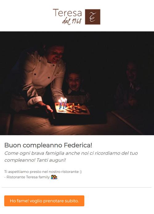 esempio email auguri di compleanno da Ristorante Teresa