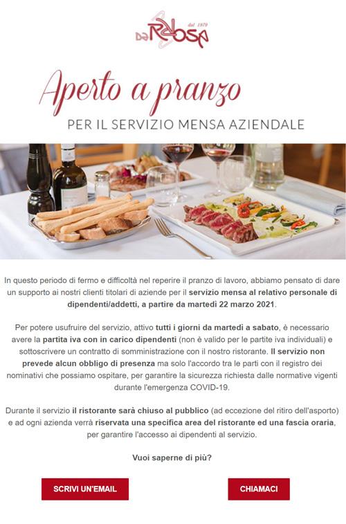 esempio email informativa Ristorante Pizzeria Da Rosa