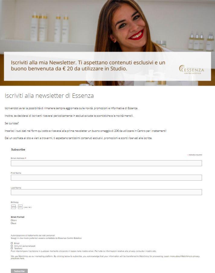 Esempio form di iscrizione newsletter Essenza Centro Estetico