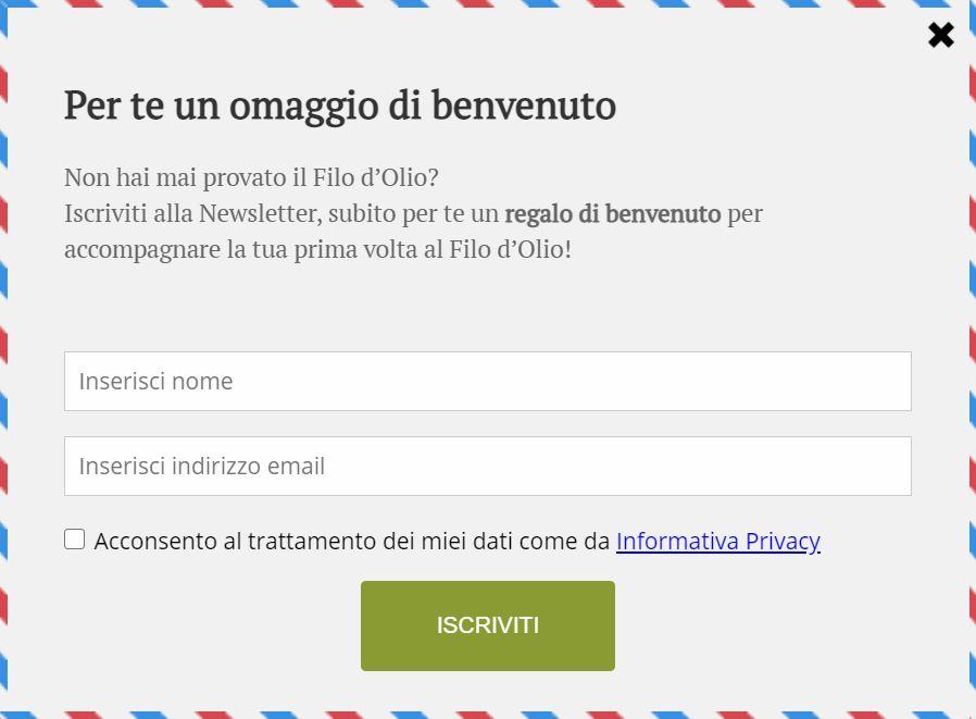 esempio form d'iscrizione alla newsletter de Il Filo D'Olio