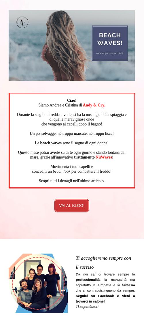 Esempio newsletter Andy &CryParrucchieri