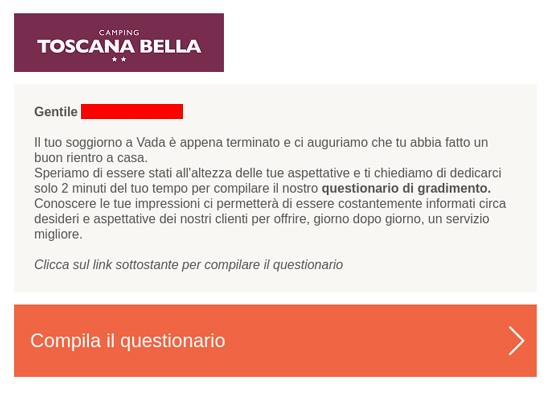 Esempio email questionario toscana bella