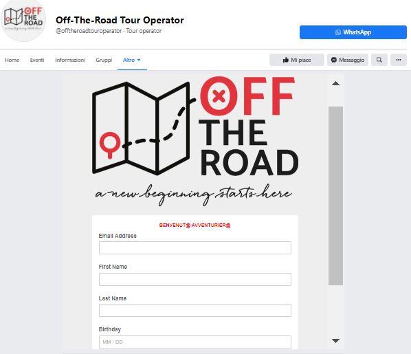 Esempio di iscrizione alla newsletter diOff The Road su Facebook