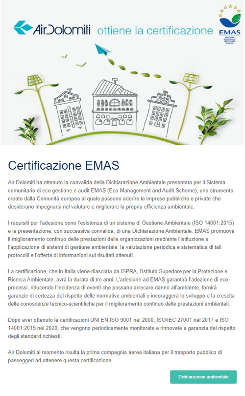 Esempio email informativa Air Dolomiti